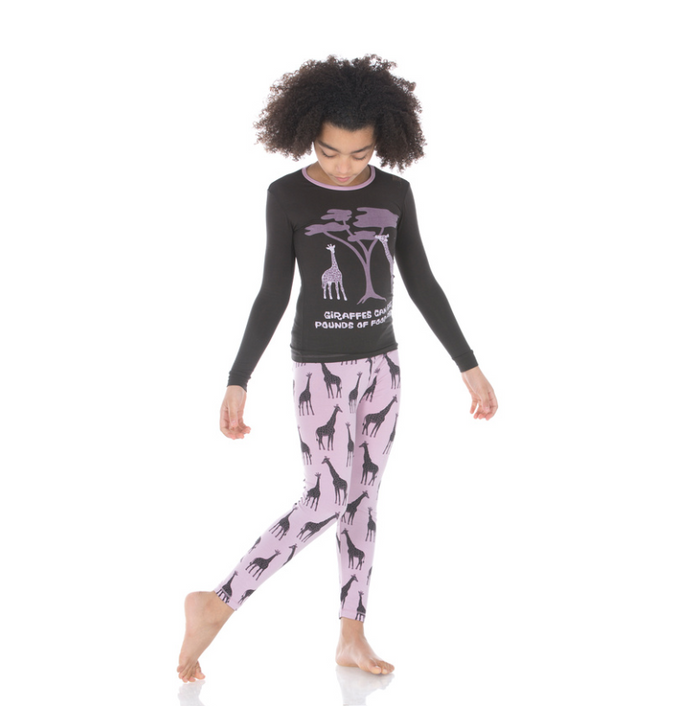 Kickee Pants Print Long Sleeve Pajama Set with Pants - Sweet Pea Giraffe