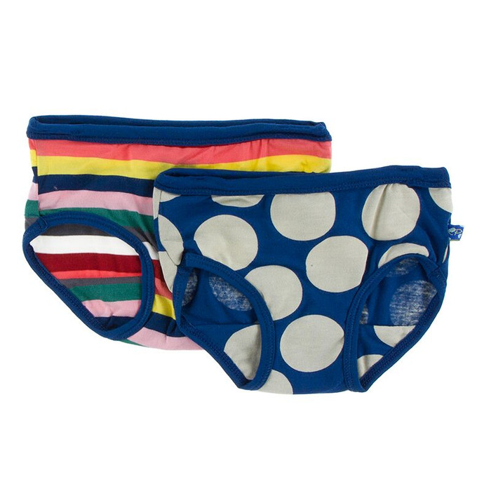 Kickee Pants Girl Underwear Set of 2 - Bright London Stripe & Navy Mod Dot