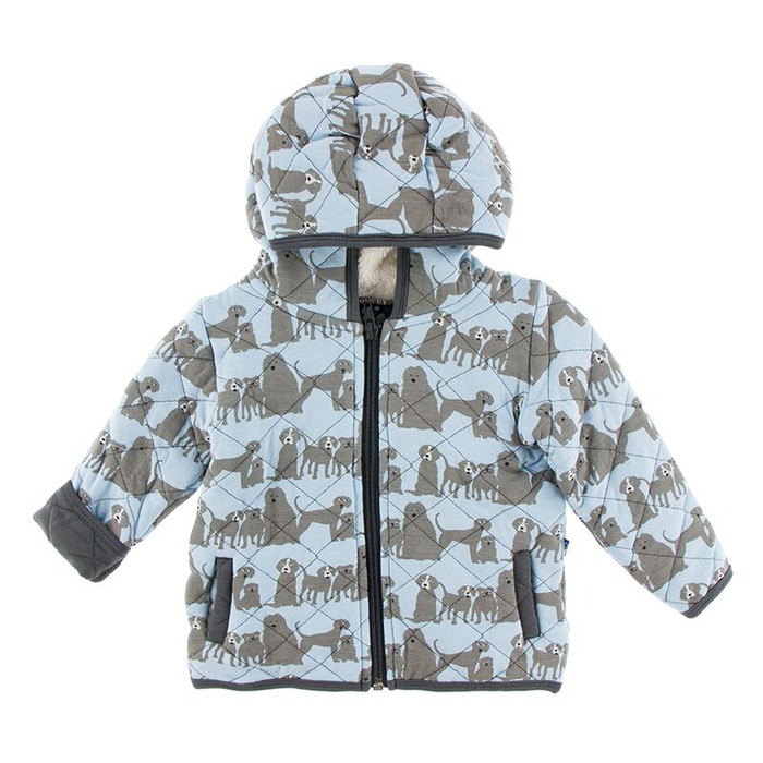 Kickee Pants Quilted Jacket with Sherpa-Lined Hood - London Dogs/Stone