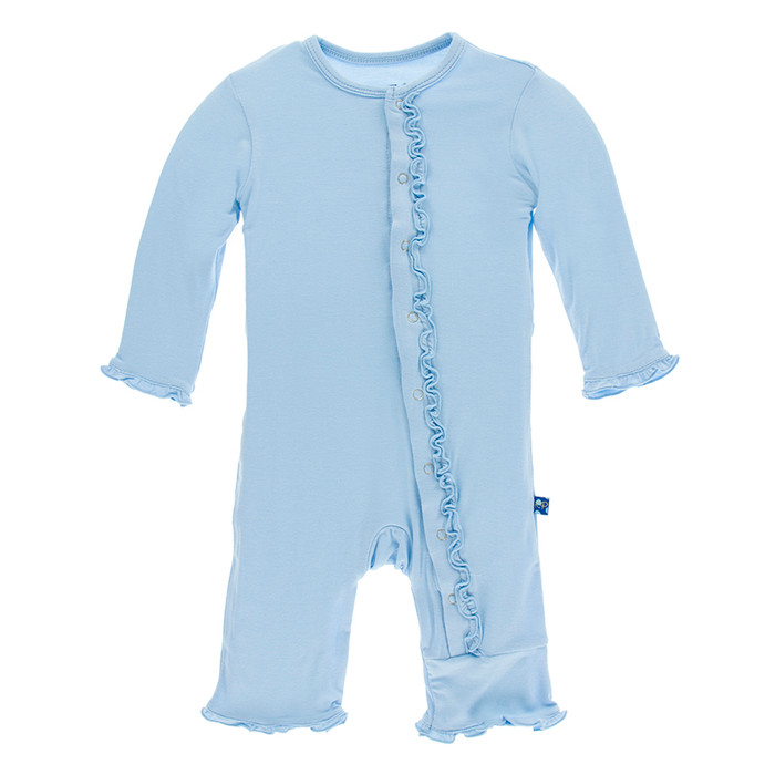 Kickee Pants Solid Ruffle Coverall - Pond