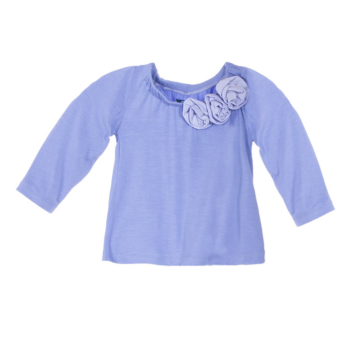 Kickee Pants Solid L/S Flower Tee - Forget Me Not with Lilac