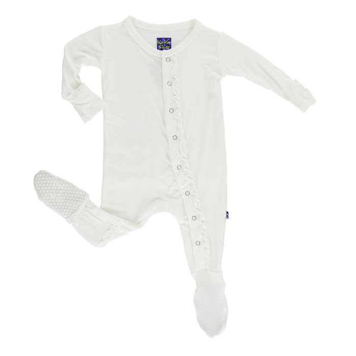 KicKee Pants Solid Muffin Ruffle Footie w/ Snaps - Natural