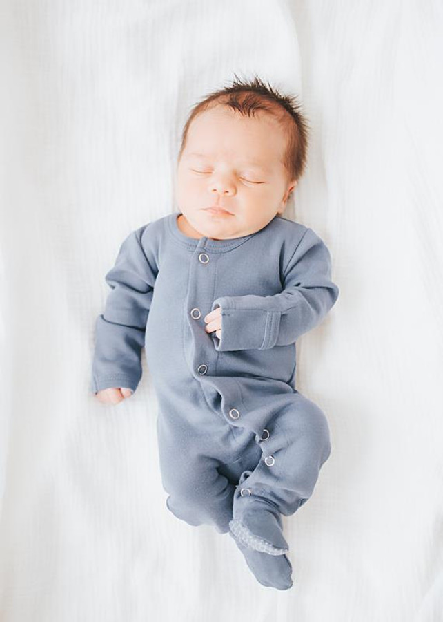 L'ovedbaby 100% Organic Cotton Footed Overall - Slate