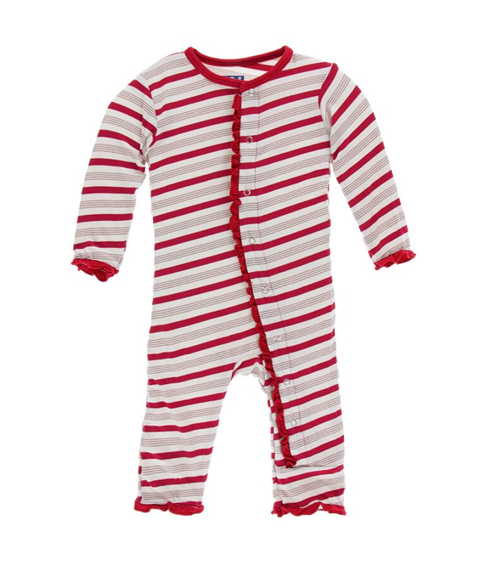 Kickee Pants Print Layette Classic Ruffle Coverall with Snaps - Rose Gold Candy Cane Stripe