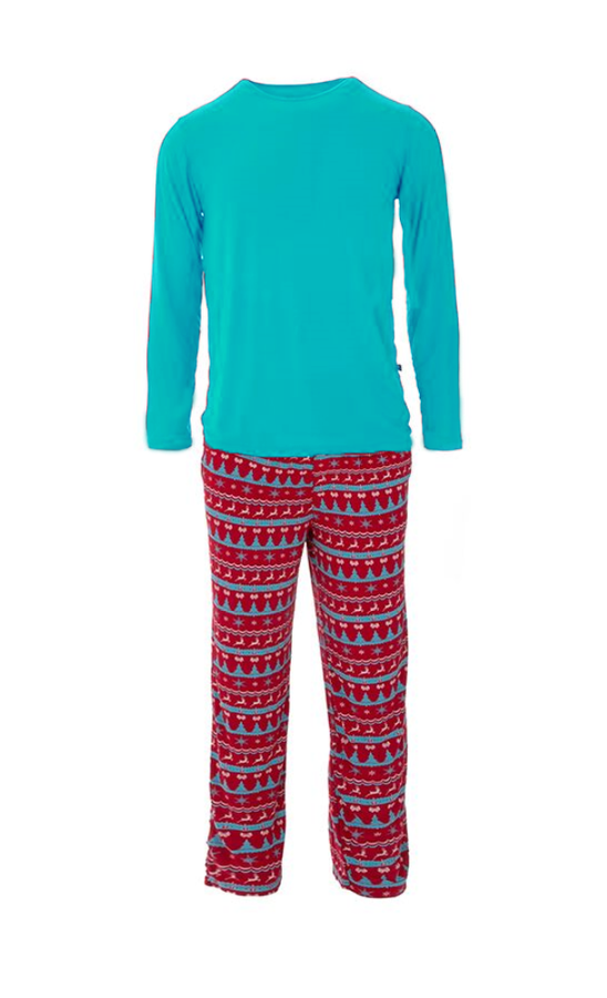 Kickee Pants Men's Long Sleeve Pajama Set - Nordic Print