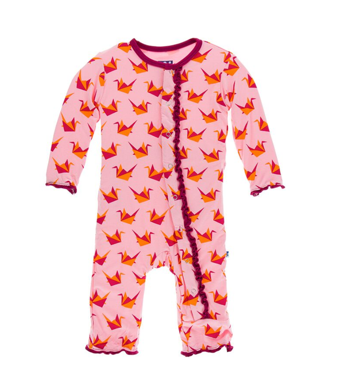 Kickee Pants Print Muffin Ruffle Coverall with Snaps - Lotus Origami Crane