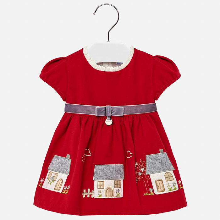 Mayoral Baby Girls Embroidered Dress - Red