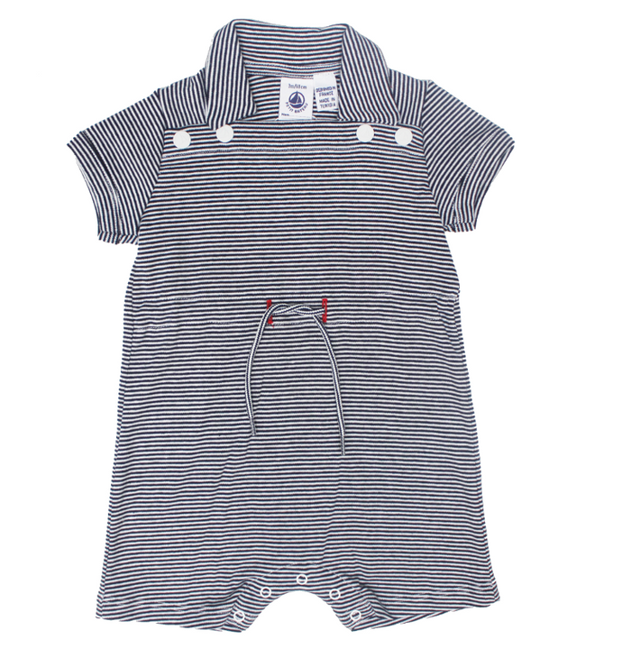 Petit Bateau Short Sleeve Striped Shortall