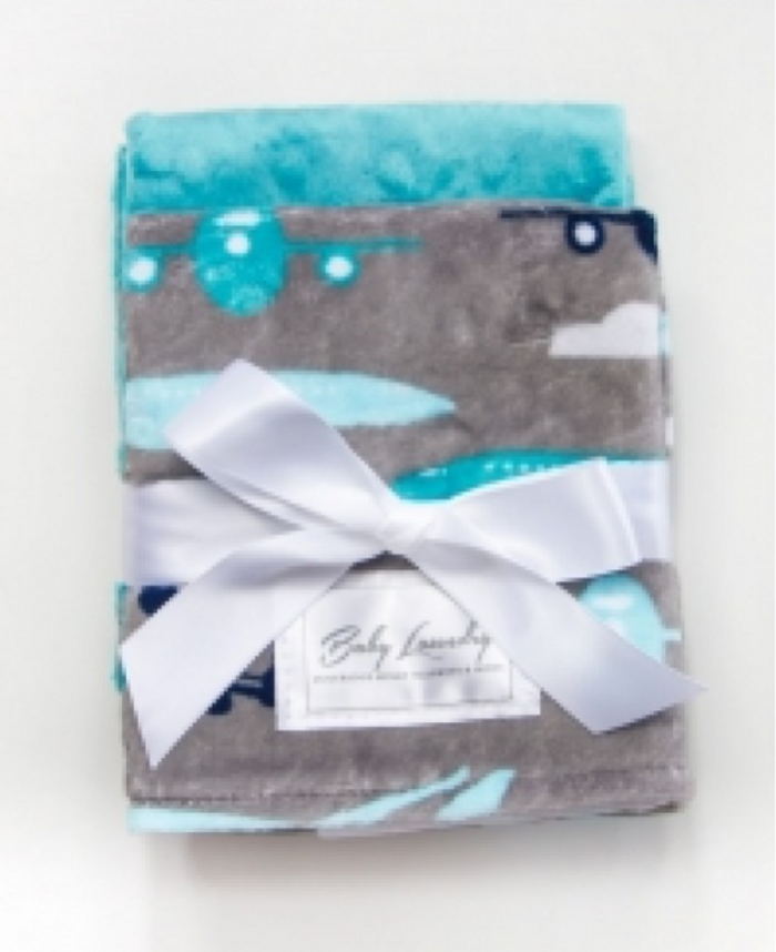 Baby Laundry Burpie Set - Planes/Teal Bump