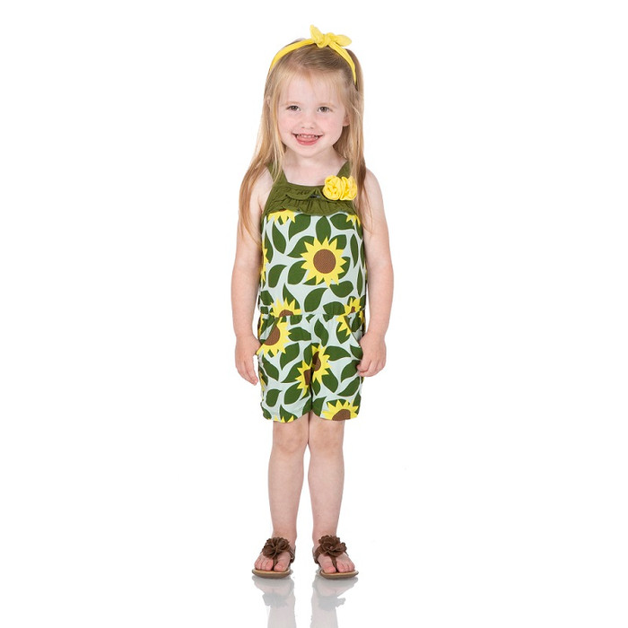 Kickee Pants Print Flower Romper with Pockets - Aloe Sunflower