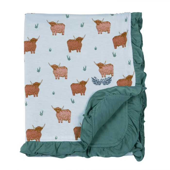 Free Birdees Season 1 - Highland Cattle Ruffle Stroller Blanket