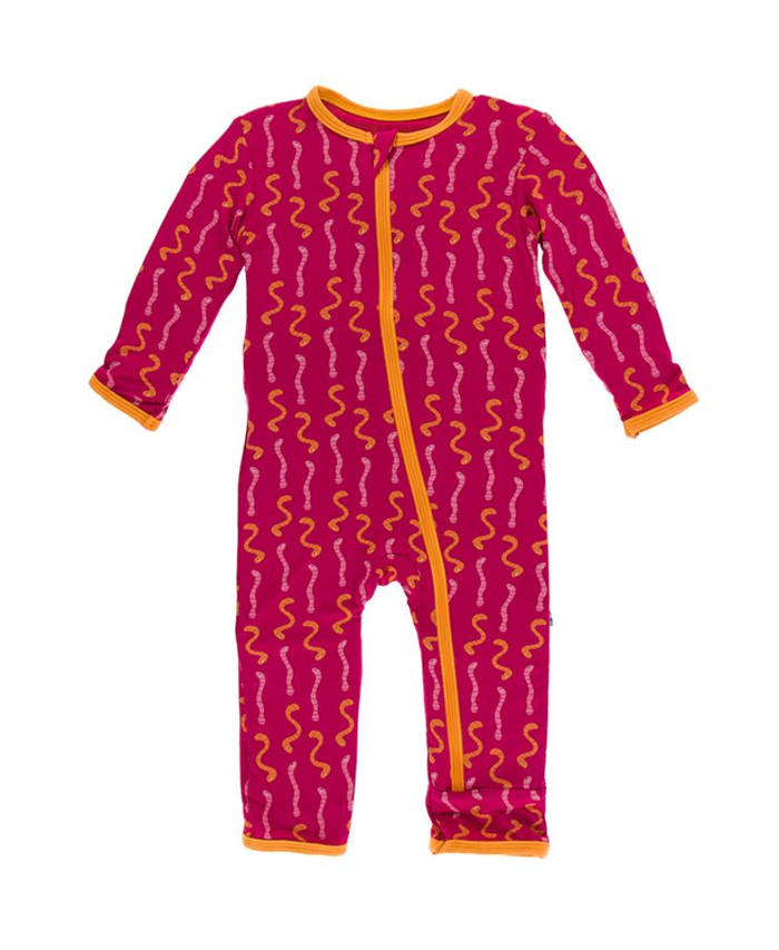 Kickee Pants Cancun Print Coverall with Zipper - Rhododendron Worms