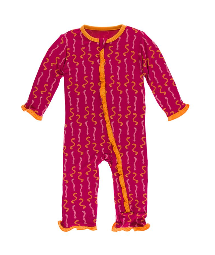 Kickee Pants Cancun Print Layette Classic Ruffle Coverall with Zipper - Rhododendron Worms