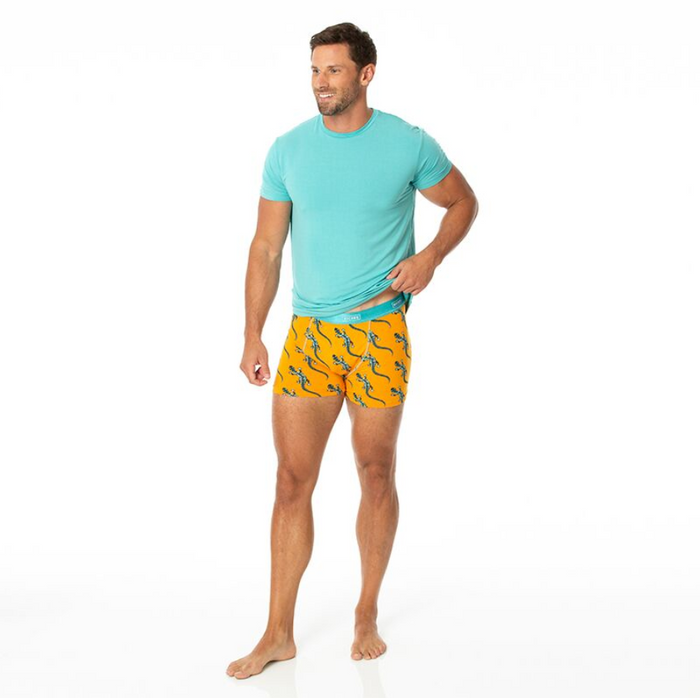 Kickee Pants Cancun Print Men's Boxer Brief - Apricot Bead Lizard
