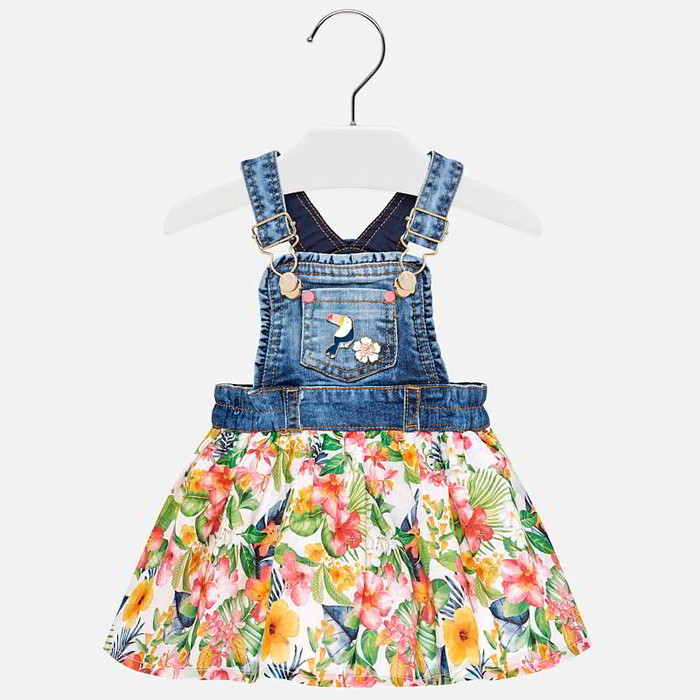 Mayoral Baby Girls Dungaree Skirt - Denim