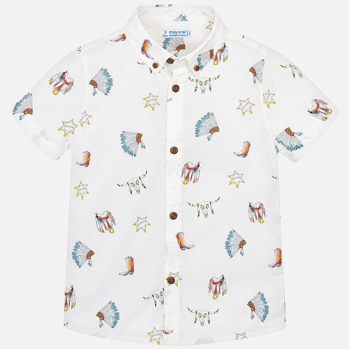 Mayoral Boys Short Sleeve Shirt - White