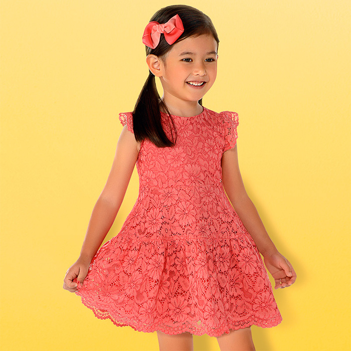 Mayoral Girls Lace Dress - Coral