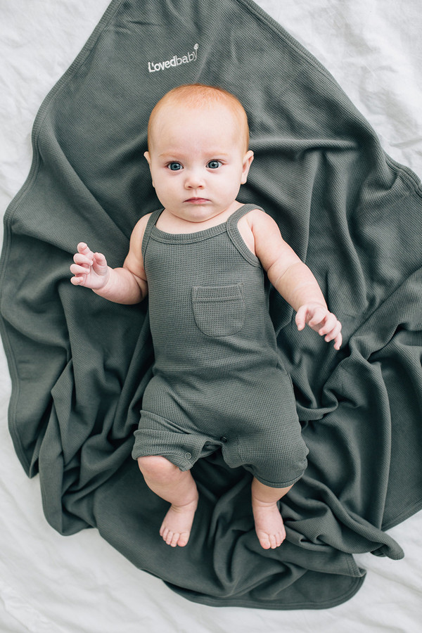 L'OVEDBABY 100% Organic Cotton Thermal Romper - Graphite