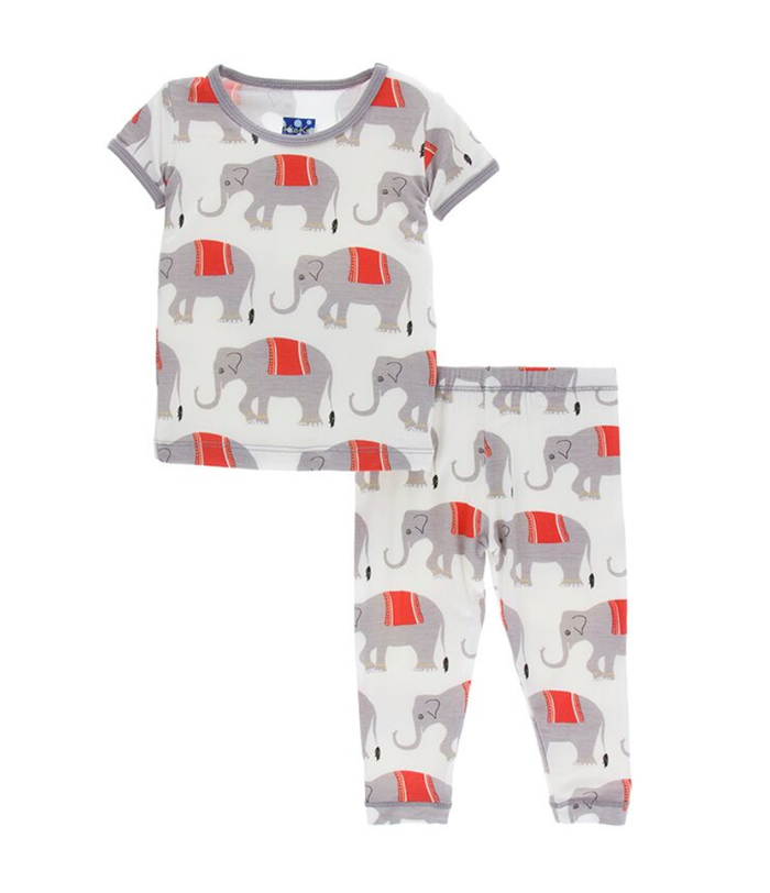 Kickee Pants India Print S/S Pajama Set - Natural Indian Elephant
