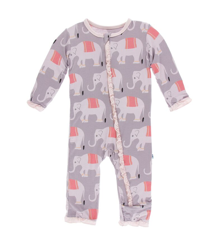 Kickee Pants India Print Layette Classic Ruffle Coverall with Zipper - Feather Indian Elephant