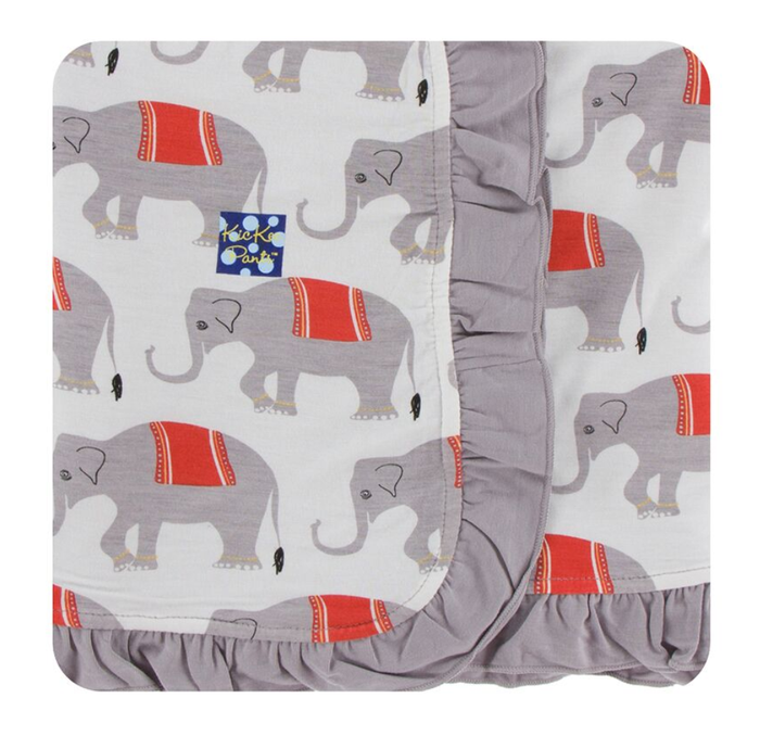 Kickee Pants India Print Ruffle Stroller Blanket - Natural Indian Elephant
