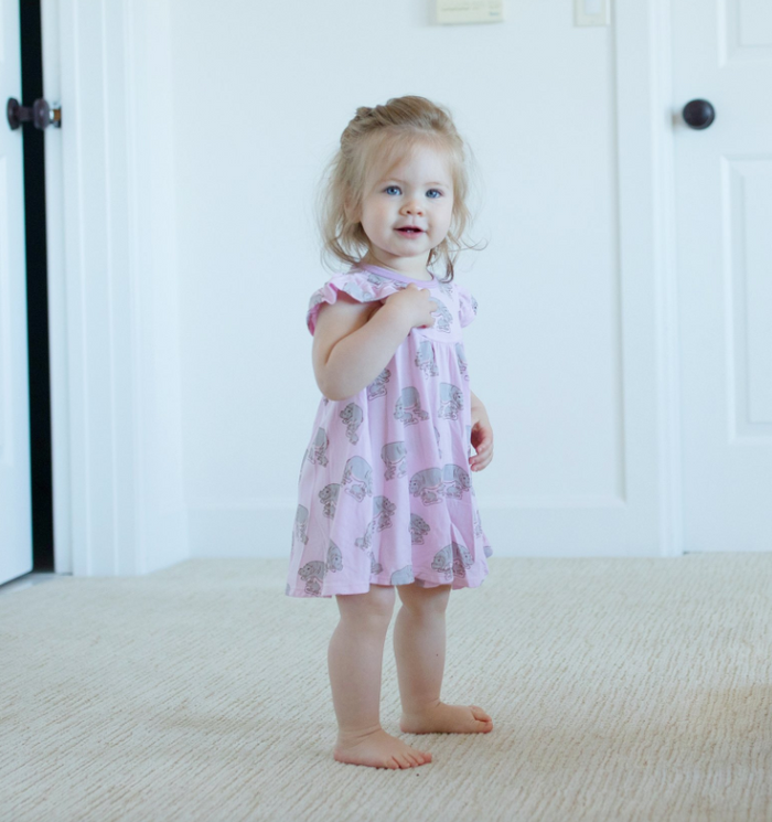 Pale Orchid Hippos Twirling Dress