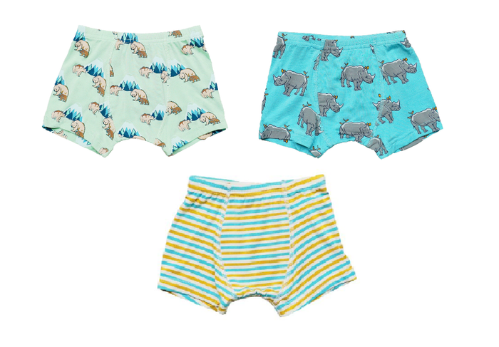 Grass Grizzly Bear / Blue Lagoon Rhino Boys Boxer Set of 3