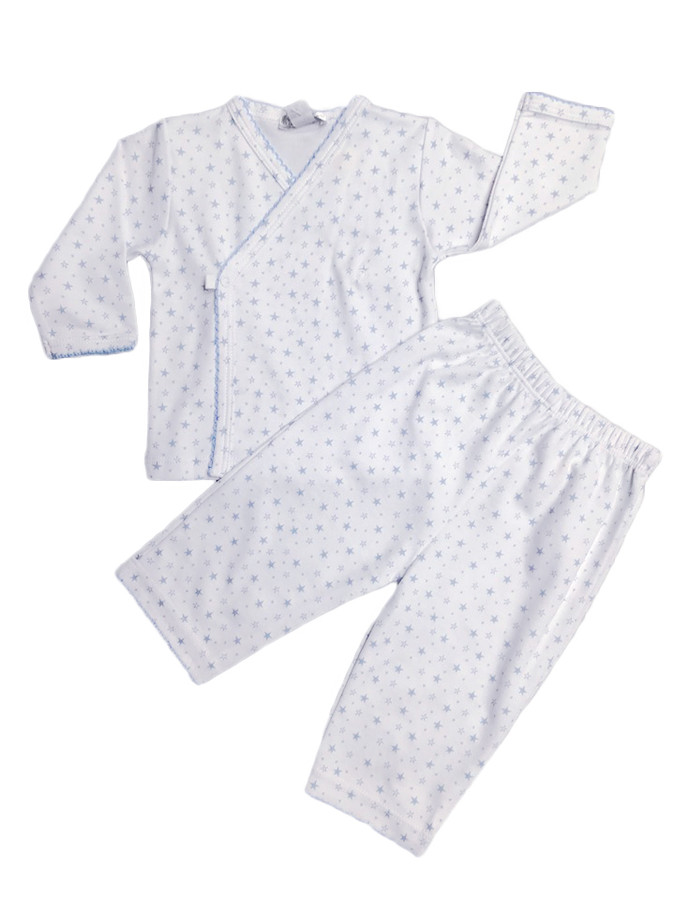 Kissy Kissy 100% Peruvian Pima Cotton Light Blue Hearts & Stars Pant Set