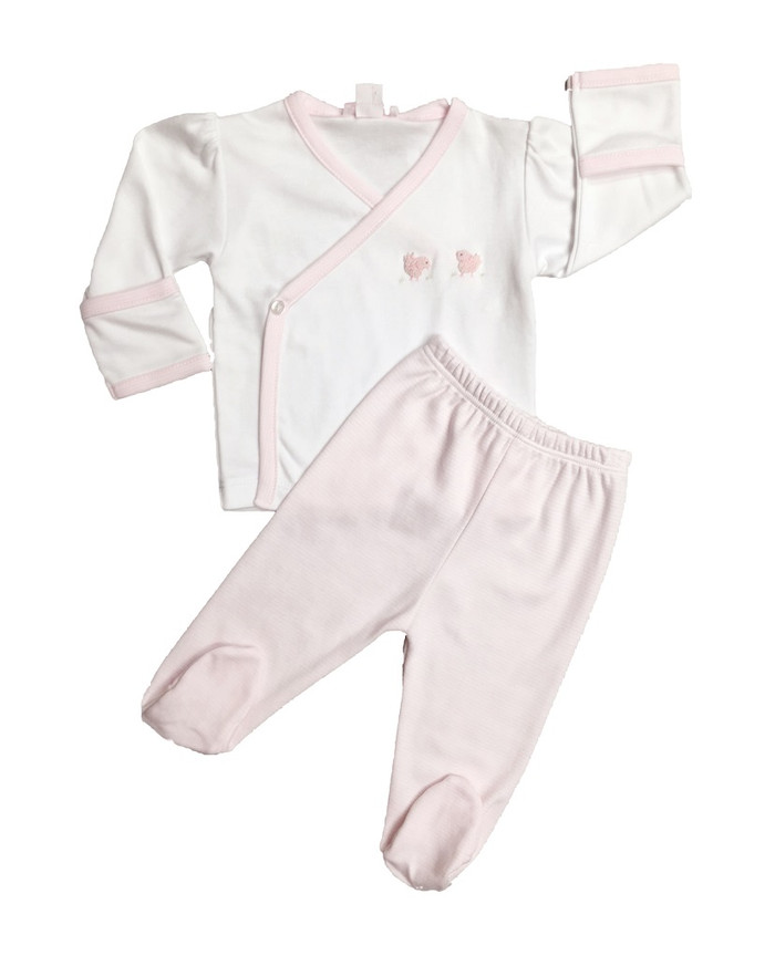 Kissy Kissy 100% Peruvian Pima Cotton Pink Scattered Chickadees Footed Pant Set