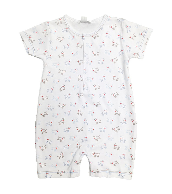 Kissy Kissy 100% Peruvian Pima Cotton Light Blue Puppy Love Print Short Playsuit