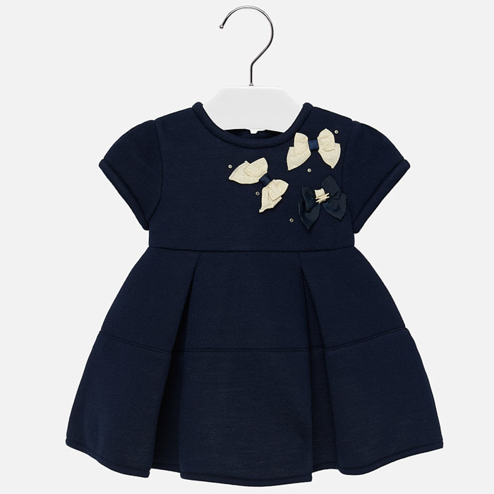 Mayoral Baby Girls Navy Applique Bow Dress