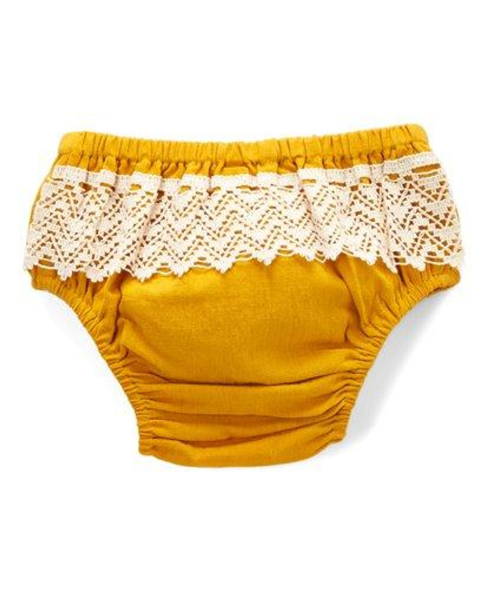 Yo Baby Girl Mustard Crochet Diaper Cover