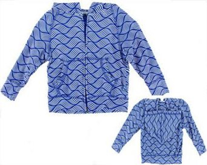 KicKee Pants Print Lightweight Zip-Front Hoodie - Kite Water Lattice