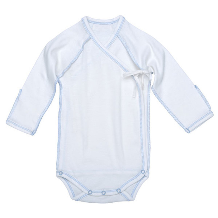 Under the Nile Organic Egyptian Cotton L/S Inside Out Babybody- Ice Blue