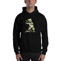 SBA Armory Collection Hooded Sweatshirt in Black with Camo Bear