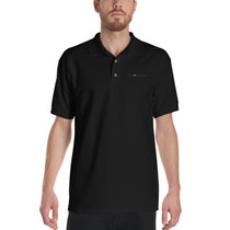 SBA Classic Collection Long Logo Embroidered Polo Shirt in Black