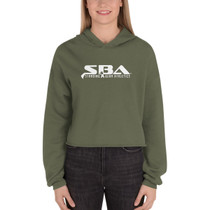 SBA Classic Collection Stacked Logo Crop Hoodie in Military Green
