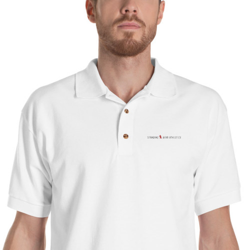 SBA Classic Collection Long Logo Embroidered Polo Shirt in White