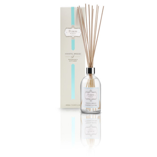Fusion Diffuser fragrances will give a long lasting and exquisite perfumed ambience in any home or office.   -Fragrance Coastal Breeze, A relaxed and refreshing scent. -Made in Australia from quality fragrances that will last up to 6 months. 250ml
