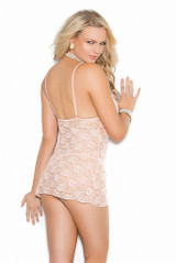 Floral lace babydoll nightie long sleeve lace jacket back