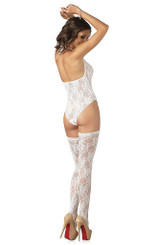 White Floral Lace Teddy and Stockings back