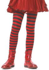 Girls Striped Stockings Red/Black