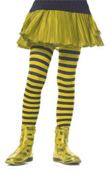 Girls Striped Stockings Yellow Black