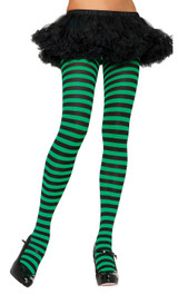 striped tights in black and green