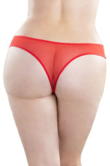 Plus Size Crotchless Thong with Pearls back