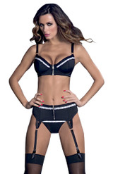 Garter Belt with Zip Front Black & White