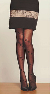Philippe Matignon Lily Collant Tights with Lace Pattern Nero