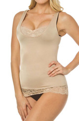 Fascination Tank with Lace Trim Nude