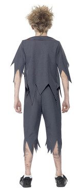 Zombie School Boy Costume Grey back