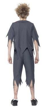Zombie School Boy Costume Grey back